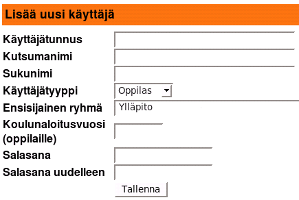 Web-pohjainen käyttäjienhallinta