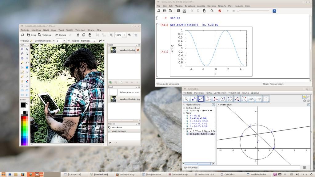 Opinsys-työpöydällä avoinna Pinta-kuvankäsittely, wxMaxima ja GeoGebra.